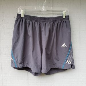 Adidas Grey Blue Elastic Waist Mens Large Shorts